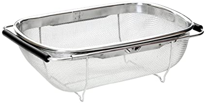 Premier Housewares - Escurridor de acero inoxidable para fregadero (11 x 30 x 19 cm, incluye asas extensibles)
