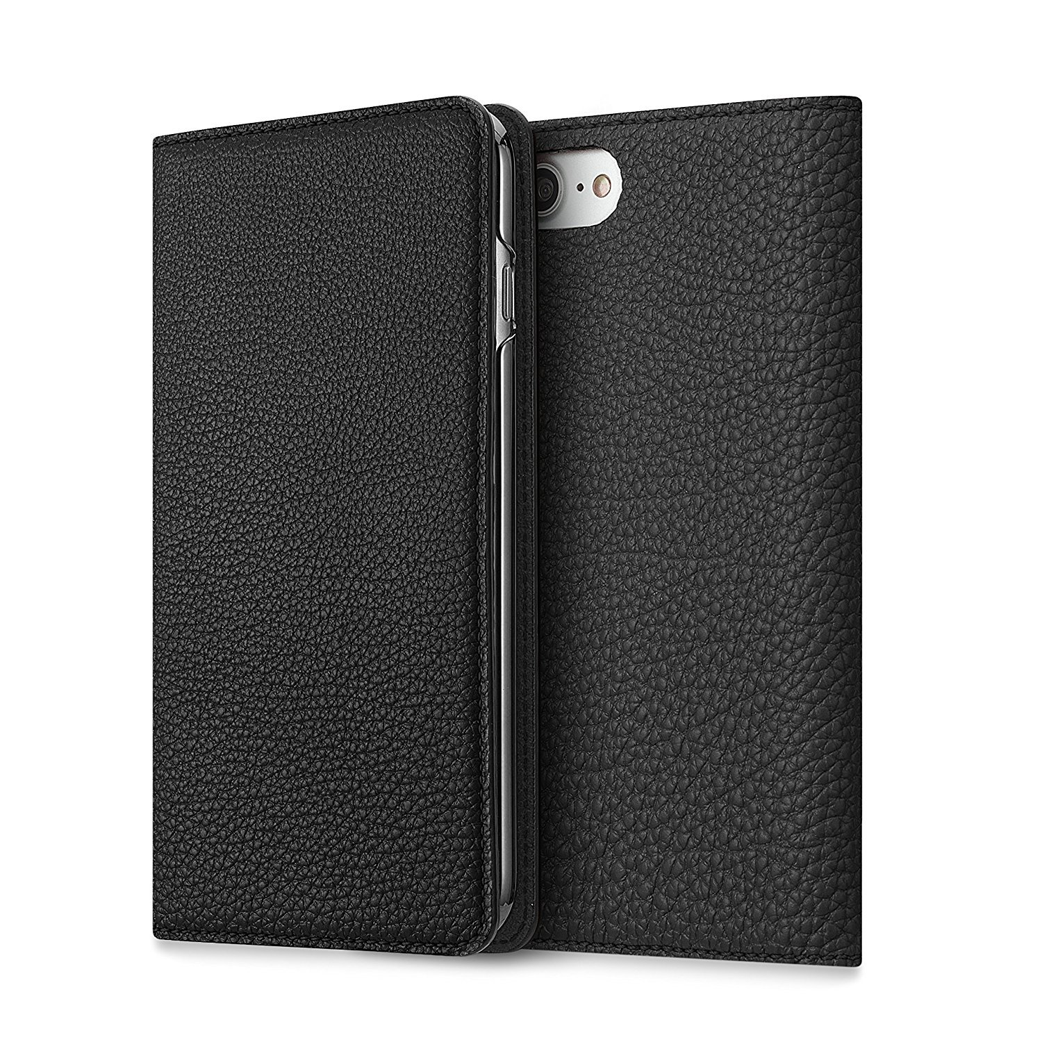 BONAVENTURA iPhone 7 Leather Wallet Case (Beautiful European Full-Grain Leather) | BONAVENTURA Folio Flip Leather Cover Case [iPhone 7 | BLACK]