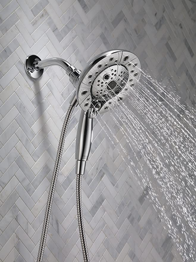 Delta Faucet 5-Spray H2Okinetic In2ition 2-in-1 Dual Hand Held Shower Head with Hose and Magnetic Docking, Chrome 58480-PK