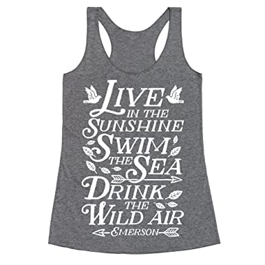 6d678b1447ef4 Amazon.com  LookHUMAN Drink The Wild Air (Ralph Waldo Emerson) Heathered  Black Women s Racerback Tank  Clothing