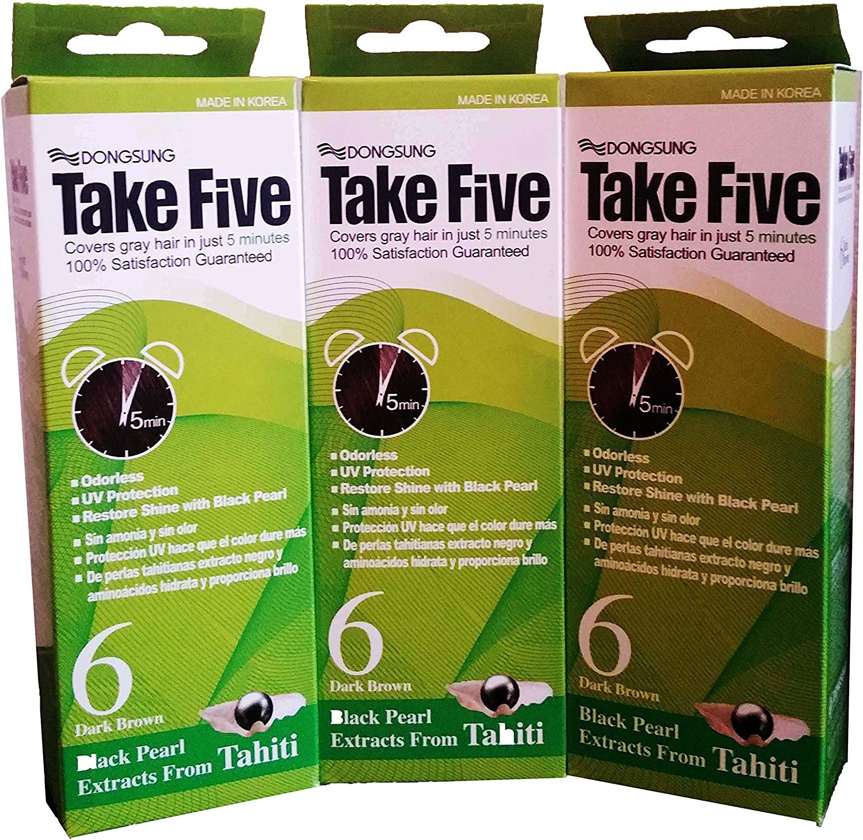 Take Five Tinte de pelo gris cobertura no.6 café oscuro sin olor sin amoniaco protección uv, vitamina c (pack de 3)