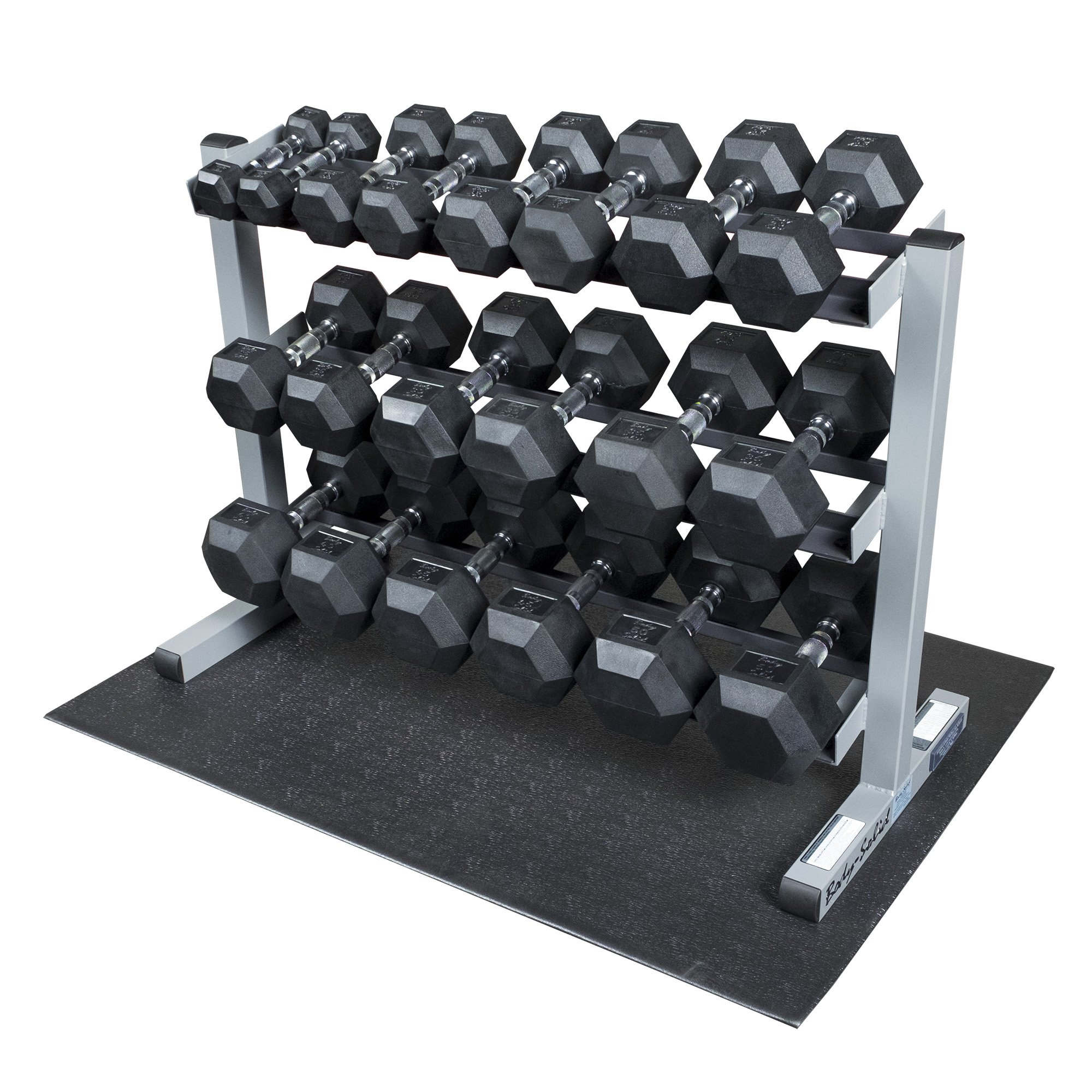 Body Solid GDR363-RFWS Dumbbell Rack with Rubber Dumbbells