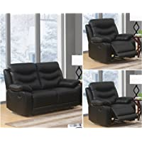 SC Furniture Ltd Black High Grade Genuine Leather Manual Reclining 3 Seater Sofa 2 Seater Leather Manual Recliner Sofa or Armchair Suite FUSION
