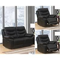 Black High Grade Genuine Leather Manual Reclining 3 Seater Sofa 2 Seater Leather Manual Recliner Sofa or Armchair Suite FUSION