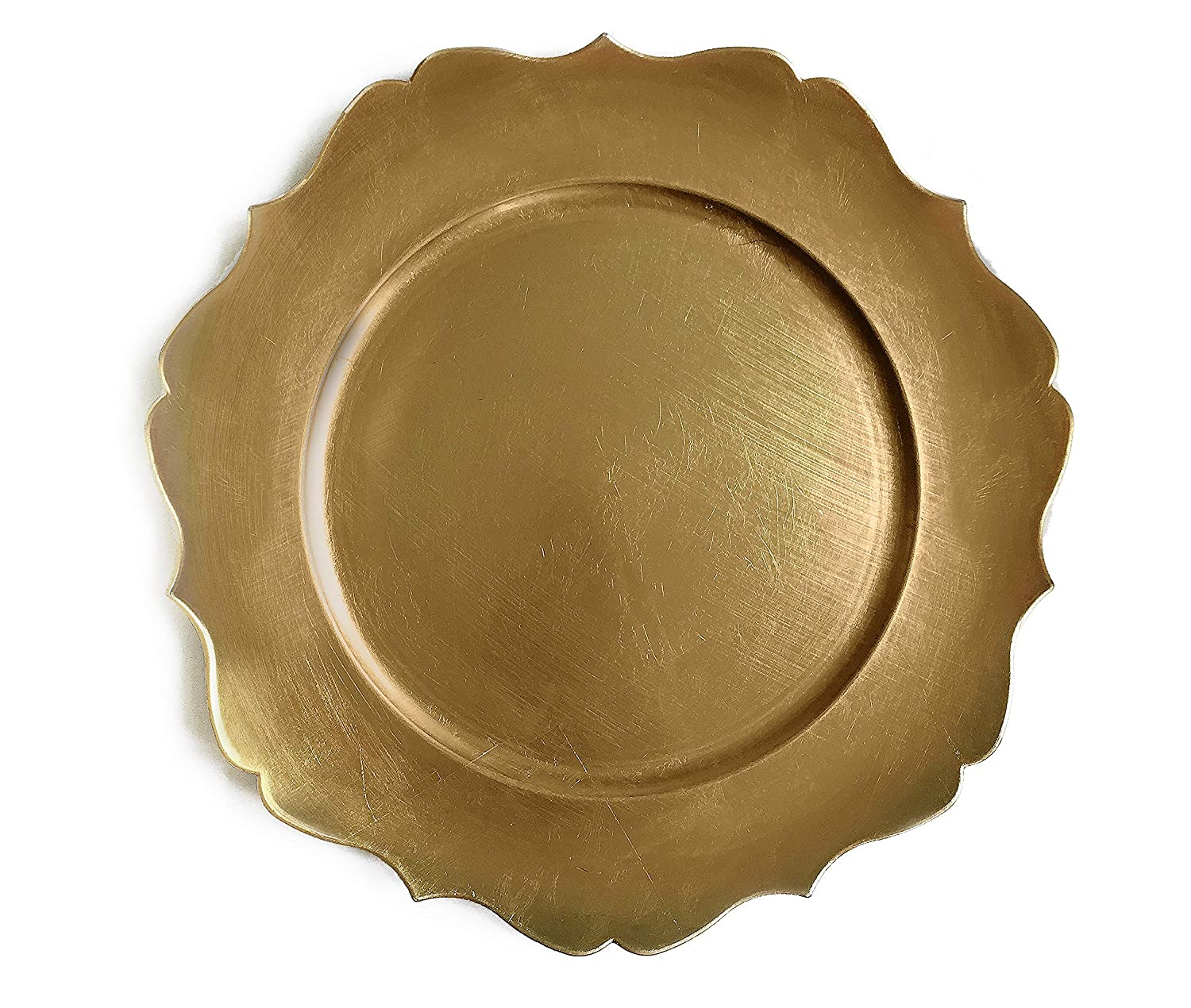 Tiger Chef 12-Piece 13-inch Gold Scalloped Rimmed Round Charger Plates, Set of 2,4,6, 12 or 24 Dinner Chargers for Wedding Reception Table Place Settings