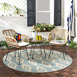 Safavieh PAT9004A Collection Alton Light Brown and White 3 Piece Lounge Outdoor Set