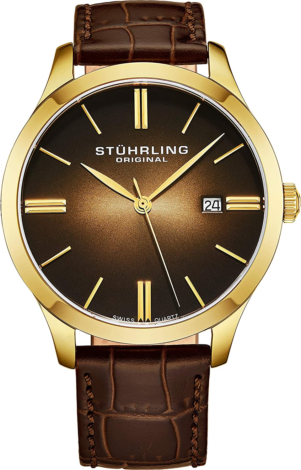 Stuhrling Original Classic Cuvette II Mens Watch – Swiss Quartz Analog Date Wrist Watch for Men – Stainless Steel Mens Designer Watch with Leather Strap 490 Series