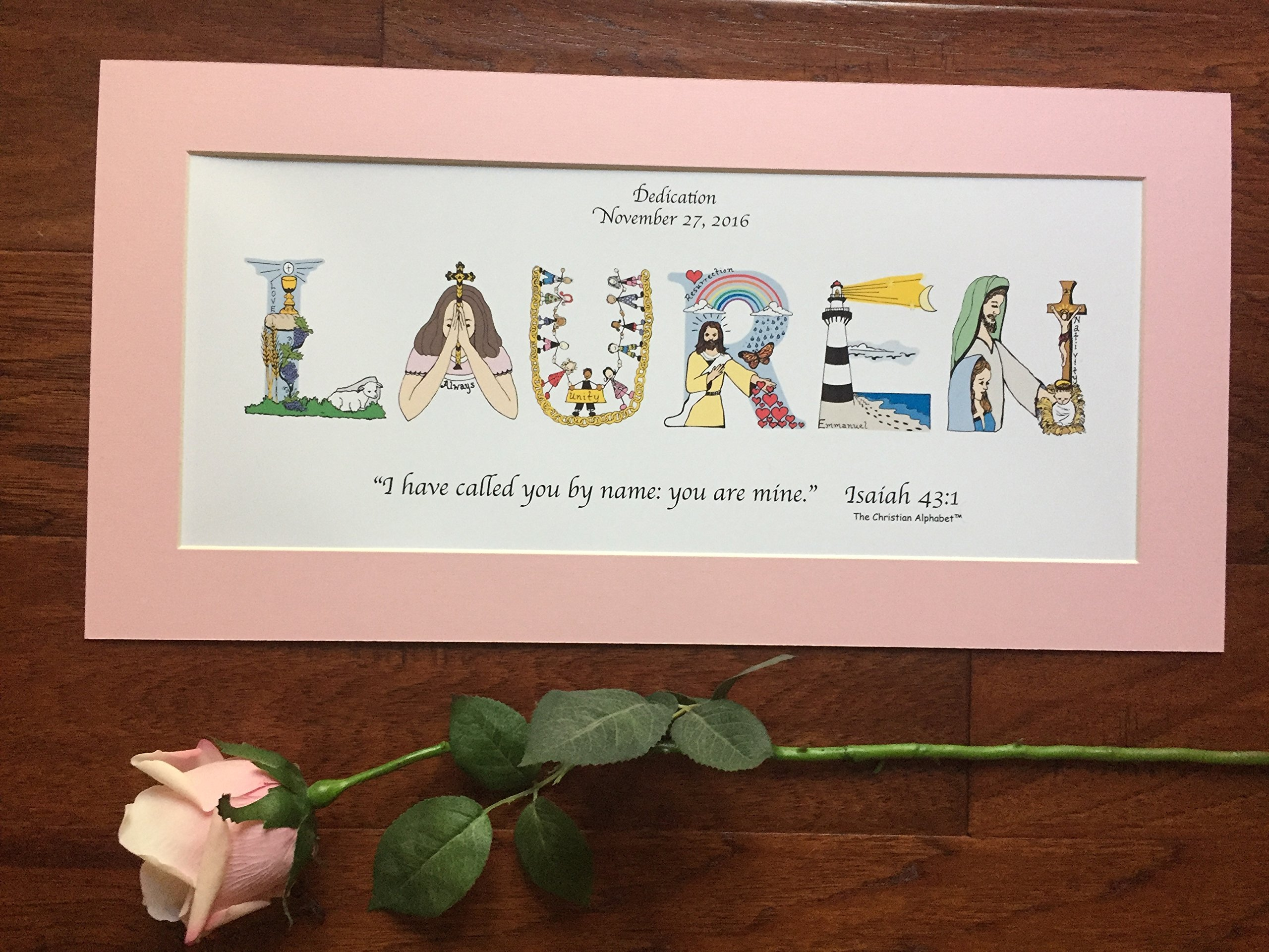 Baby Dedication Gift for girls or boys - Personalized 10x20 matted, ready-to-frame - free shipping option