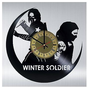 winter soldier marvel comics vinyl record wall clock gift idea for birthday christmas women