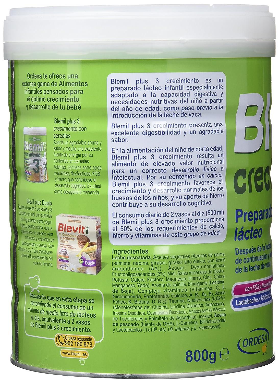 Blemil Plus 3 Crecimiento Leche - 800 gr: Amazon.es: Alimentación y bebidas