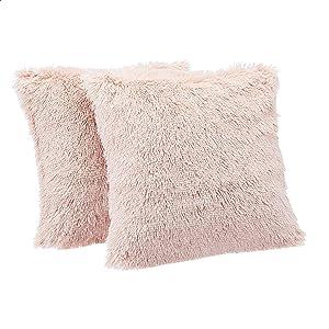 Amazon Basics Shaggy Long Fur Faux Fur Throw Pillow Covers, 18