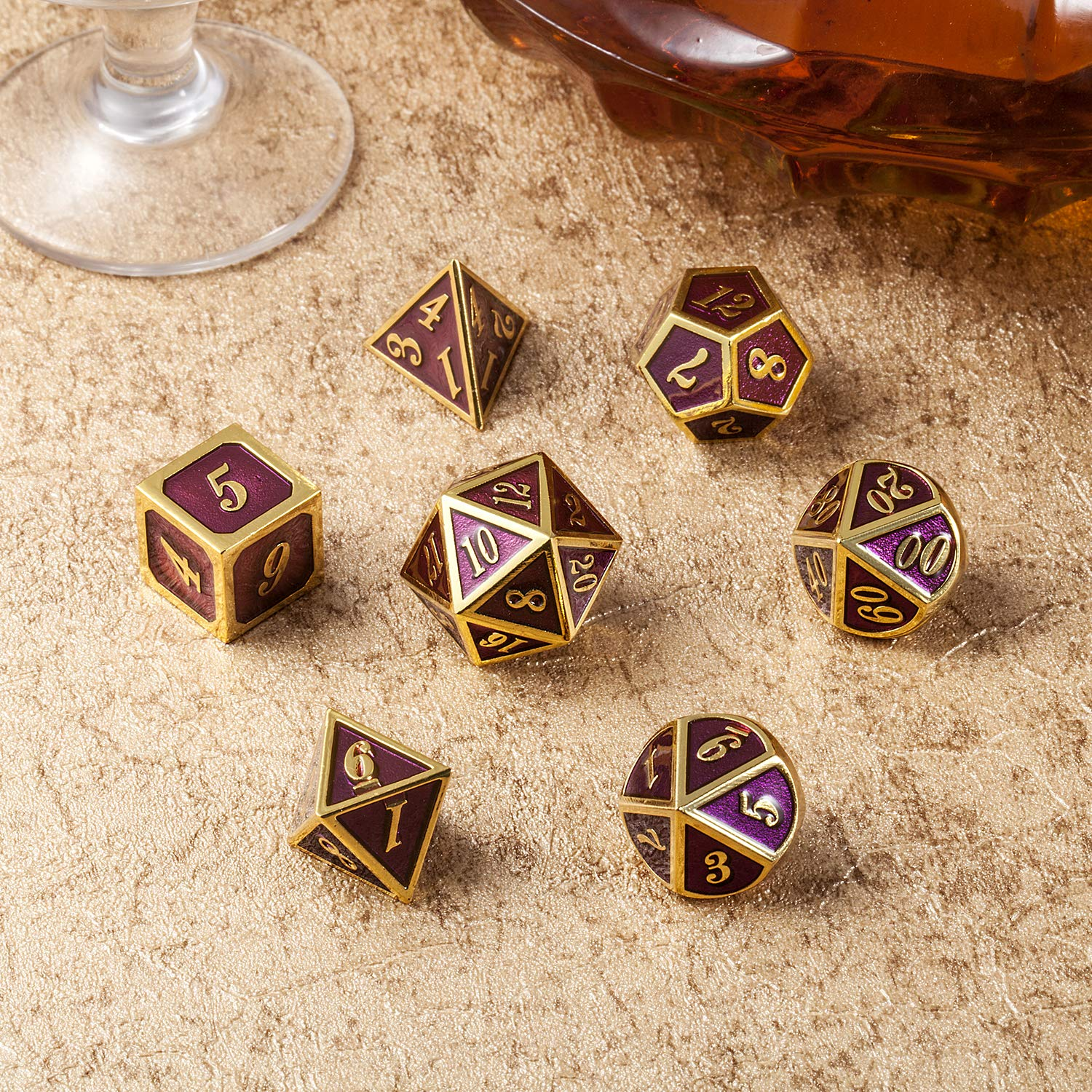 Table Game Metal Dice Set, 7PCS D&D Metal Die with Metal Gift Box for Tabletop Games Dungeons and Dragons Dice (Dark Purple and Gold Number) by DNDND (Image #6)