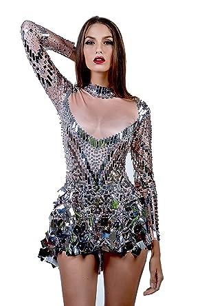 7dda57de93d8 Charismatico Silver Rhinestone Mosaic Sequin 3D Print Sexy Cleavage ...