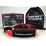 """Rocket Straps - 3"""" x 30' Extreme Heavy Duty Tow Strap - 30,000 LBS (15 US TON) Rated Capacity Vehicle Tow Straps with Reinforced Loop Ends 