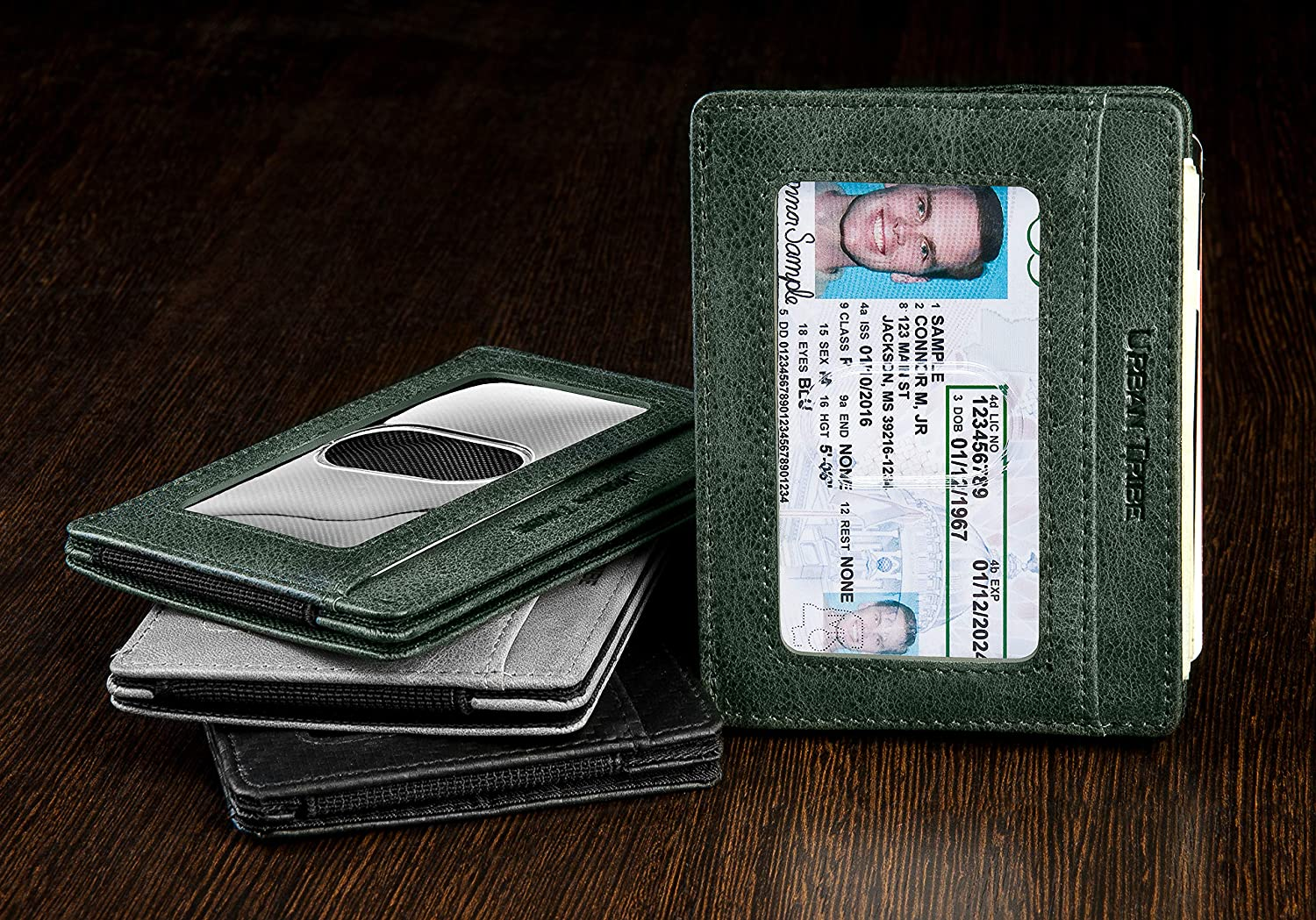 Compact RFID Card Sleeve Wallet Premium Leather Money Clip Card Holder for Up to 10 Cards