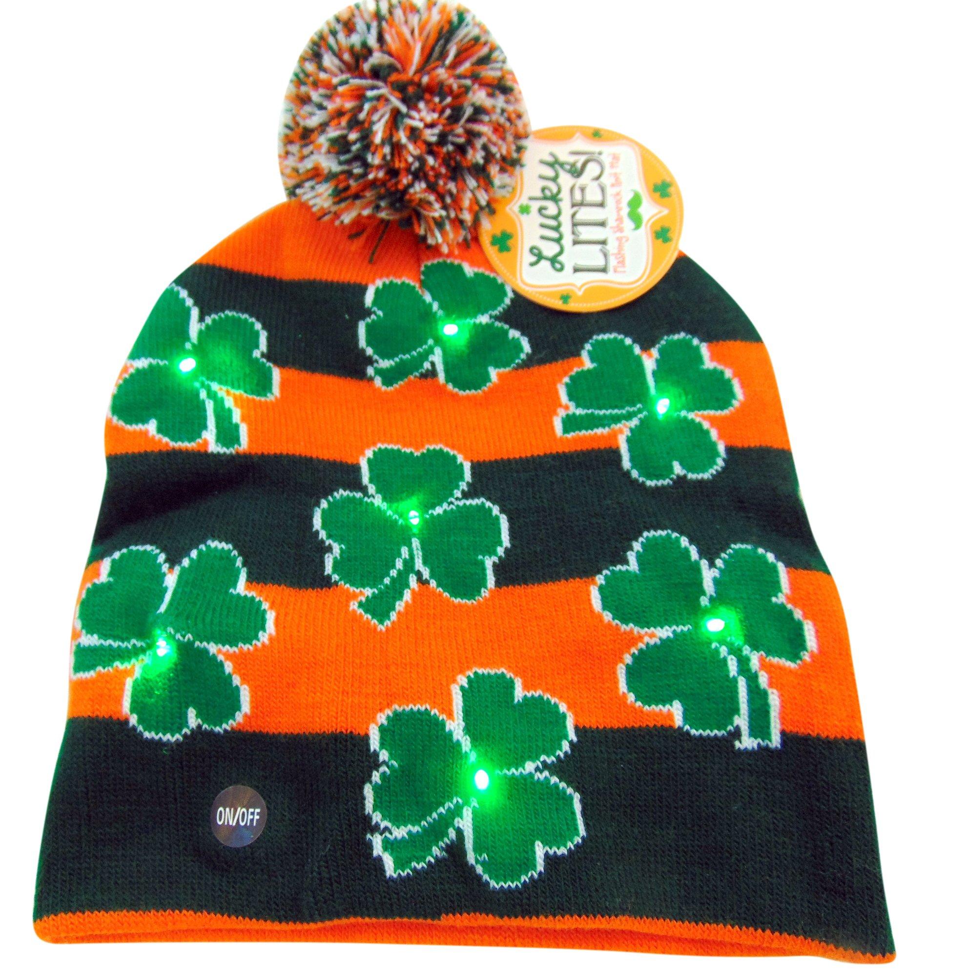 ecb54aaed56ee9 DM Imports ST Patricks Day Irish Light Up Beanie Skull Cap With ...