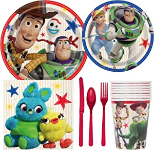 BashBox Disney Toy Story 4 Birthday Party Supplies Pack Including Cake & Lunch Plates, Cutlery, Cups, Napkins (8 Guests)