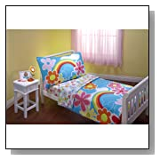 Everything for Kids Happiness 4 Piece Toddler Bedding Set,Turquoise/Pink