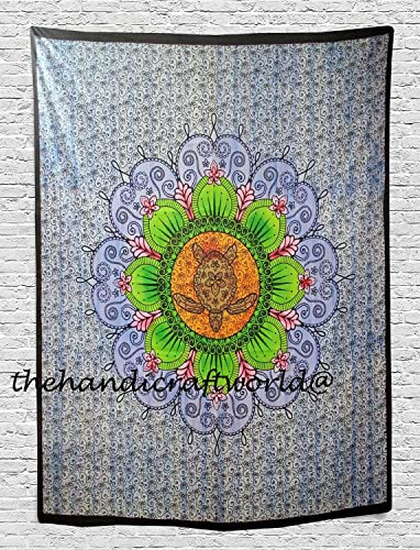 Tortoise Tapestry Wall Hanging Decor Indian Home Hippie Bohemian Tapestry for Dorms Wall Art Boho Mandala Tapestry, Wall Hanging, Gypsy Tapestry,Multicolor, 80 X 100 inches