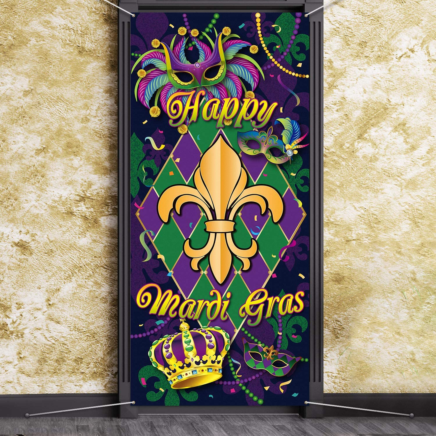 Mardi Gras Carnival Door Cover, Large Fabric Happy Mardi Gras Sign Party Door Cover Mardi Gras Party Decorations Backdrop Banner for Mardi Gras Party Favors, 78.7 x 35.4 Inch
