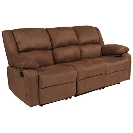 Flash Furniture Harmony Series Chocolate Brown Microfiber Sofa with Two Built-In Recliners