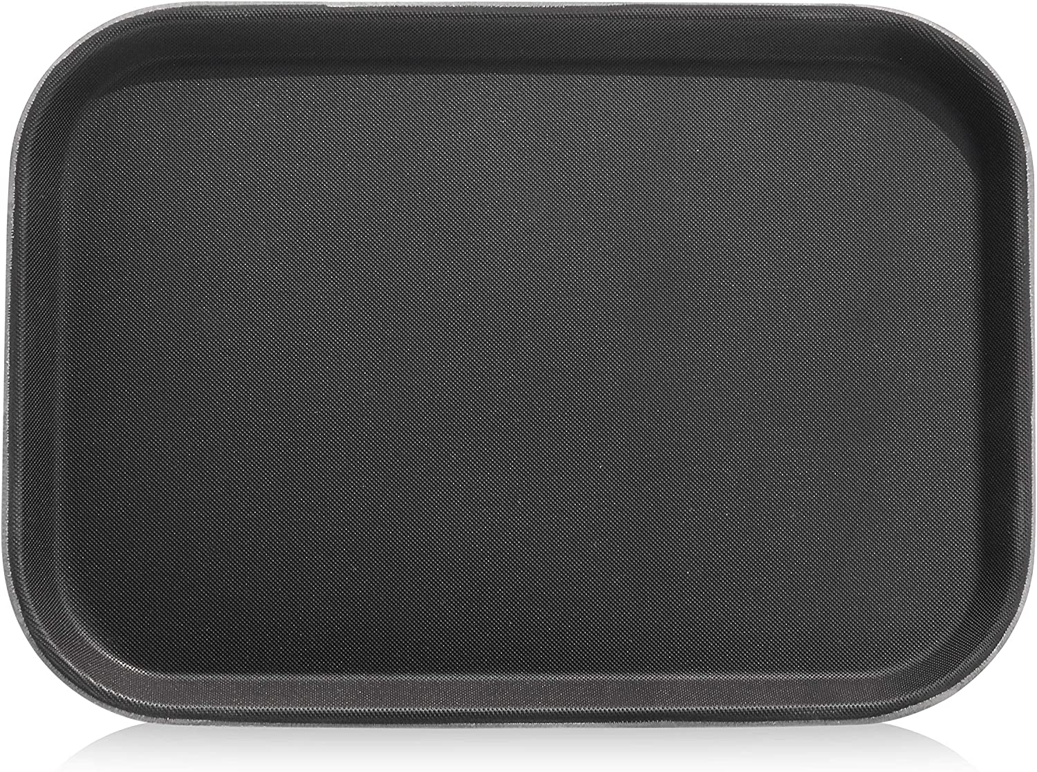 New Star Foodservice 24852 Non-Slip Tray, Plastic, Rubber Lined, Rectangular, 10 by 14-Inch, Black