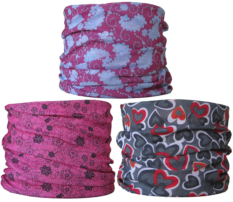 (Pacquete de 3) Braga para el cuello, pañuelo de microfibra multifunción, las mujeres, las señoras (Ref B4) wendywwoo