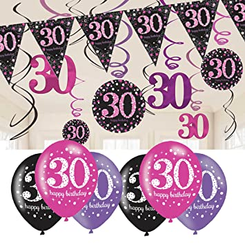 30th Birthday Decorations Pink Bunting Balloons Hanging Amazoncouk Toys Games