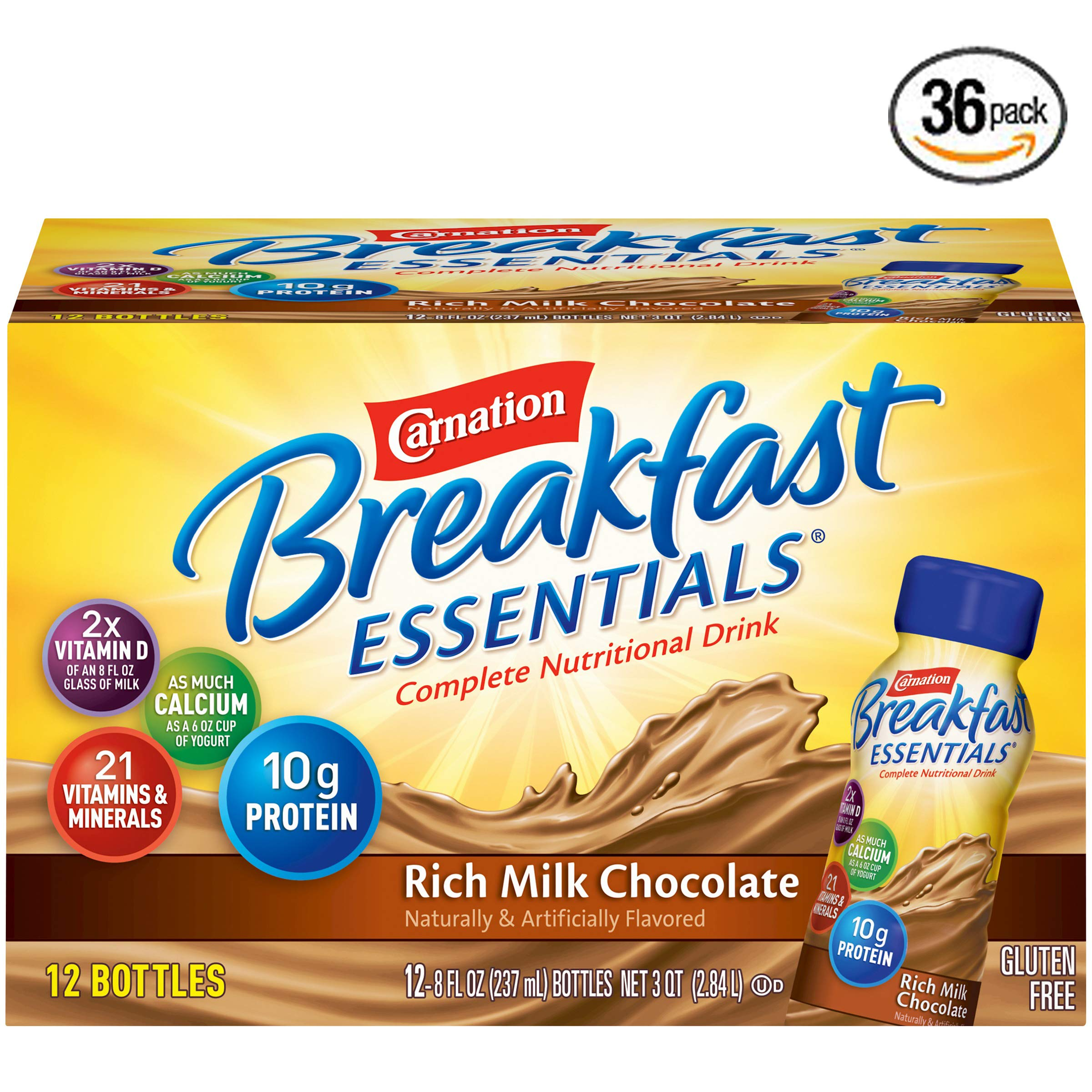 Carnation Breakfast Essentials Ready-to-Drink, Rich Milk Chocolate, 8 fl oz Bottle, 36 Count
