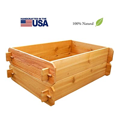 Timberlane Gardens Raised Bed Kit Double Deep (Two 2x3) Western Red Cedar with Mortise and Tenon Joinery 2 Feet x 3 Feet: Garden & Outdoor