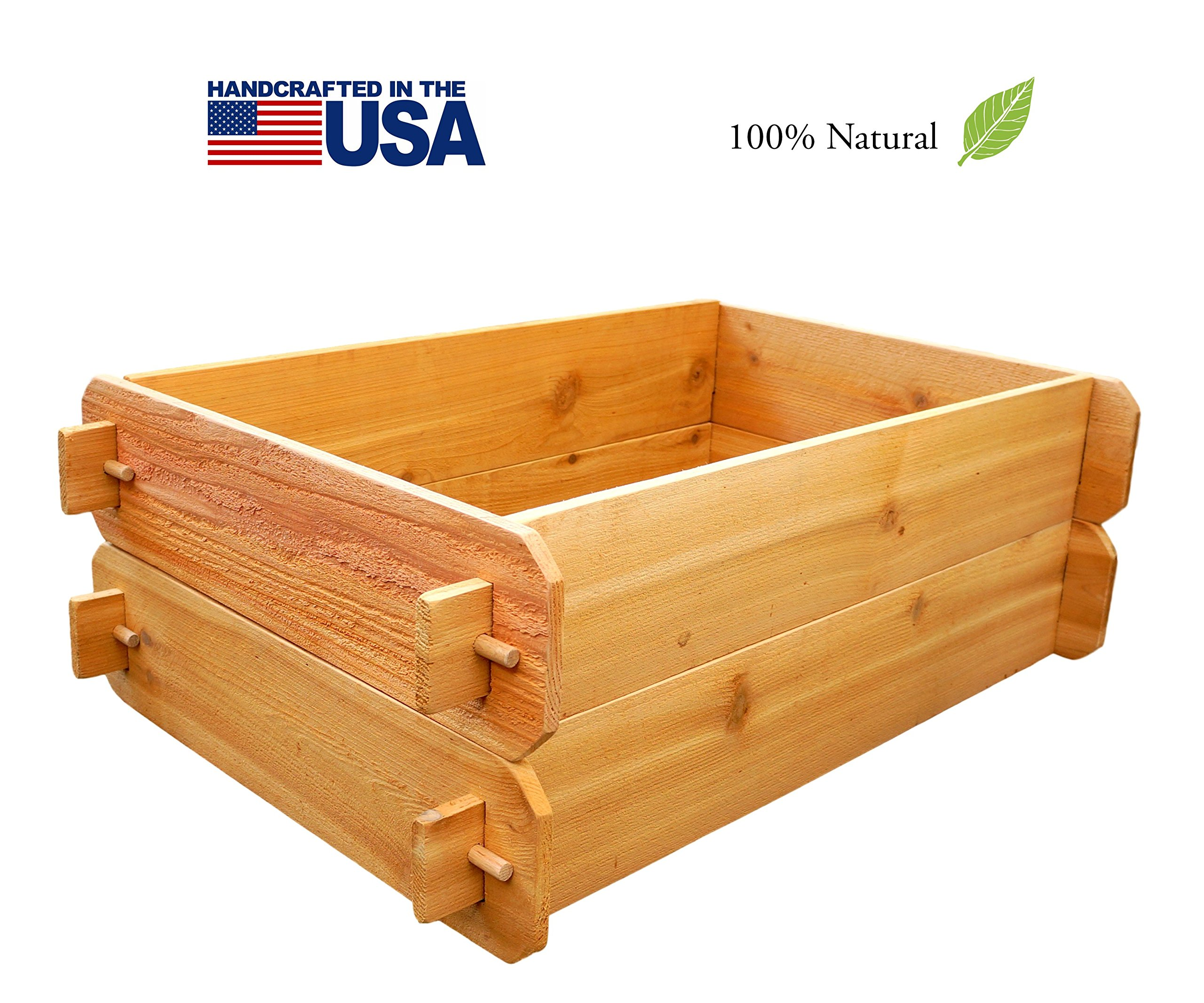 Timberlane Gardens Raised Bed Kit Double Deep (Two 2x3) Western Red Cedar with Mortise and Tenon Joinery 2 Feet x 3 Feet