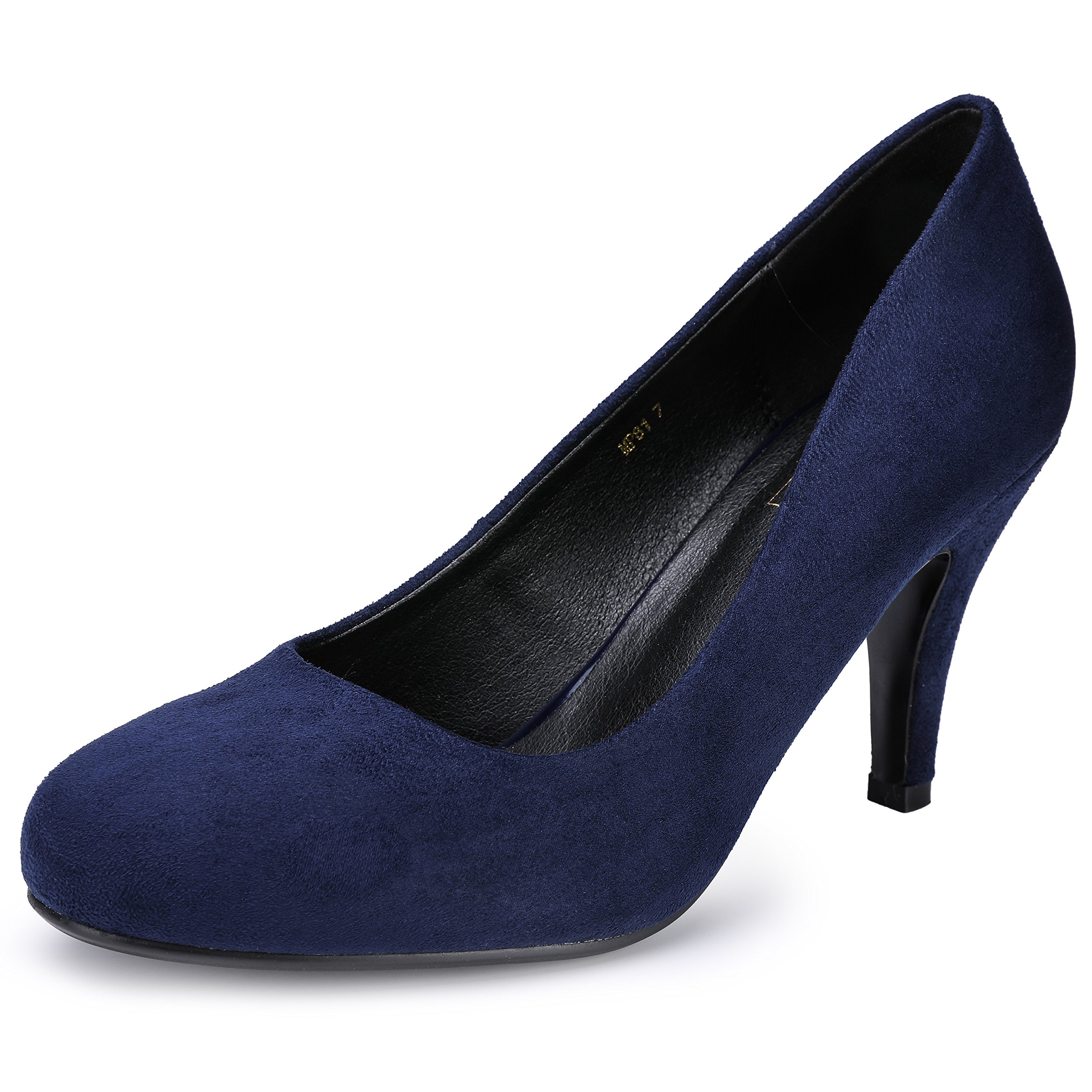 IDIFU Women's RO4 Elegant Round Toe High Heel Pump Shoes (Blue Suede, 11 B(M) US)
