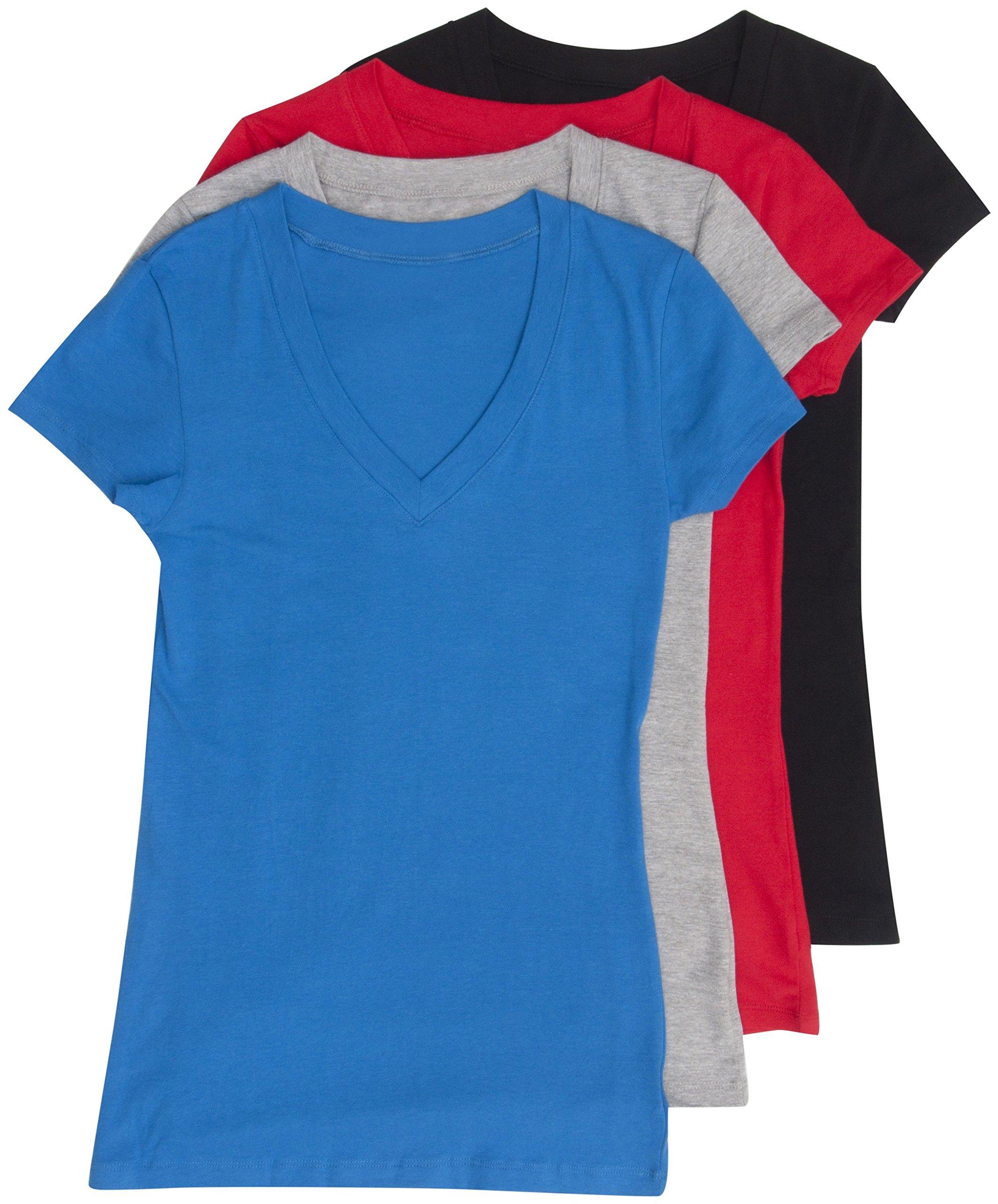 31a192317 Galleon - 4 Pack Zenana Women's Basic V-Neck T-Shirts Med Black, H Gray,  Red, B Blue