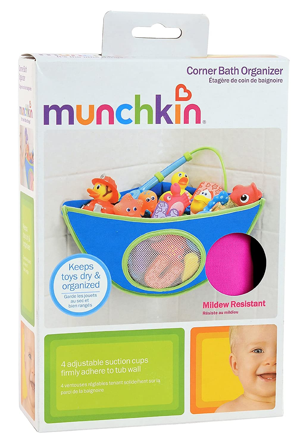 Corner Bath Organizer Colours May Vary Blue and Pink