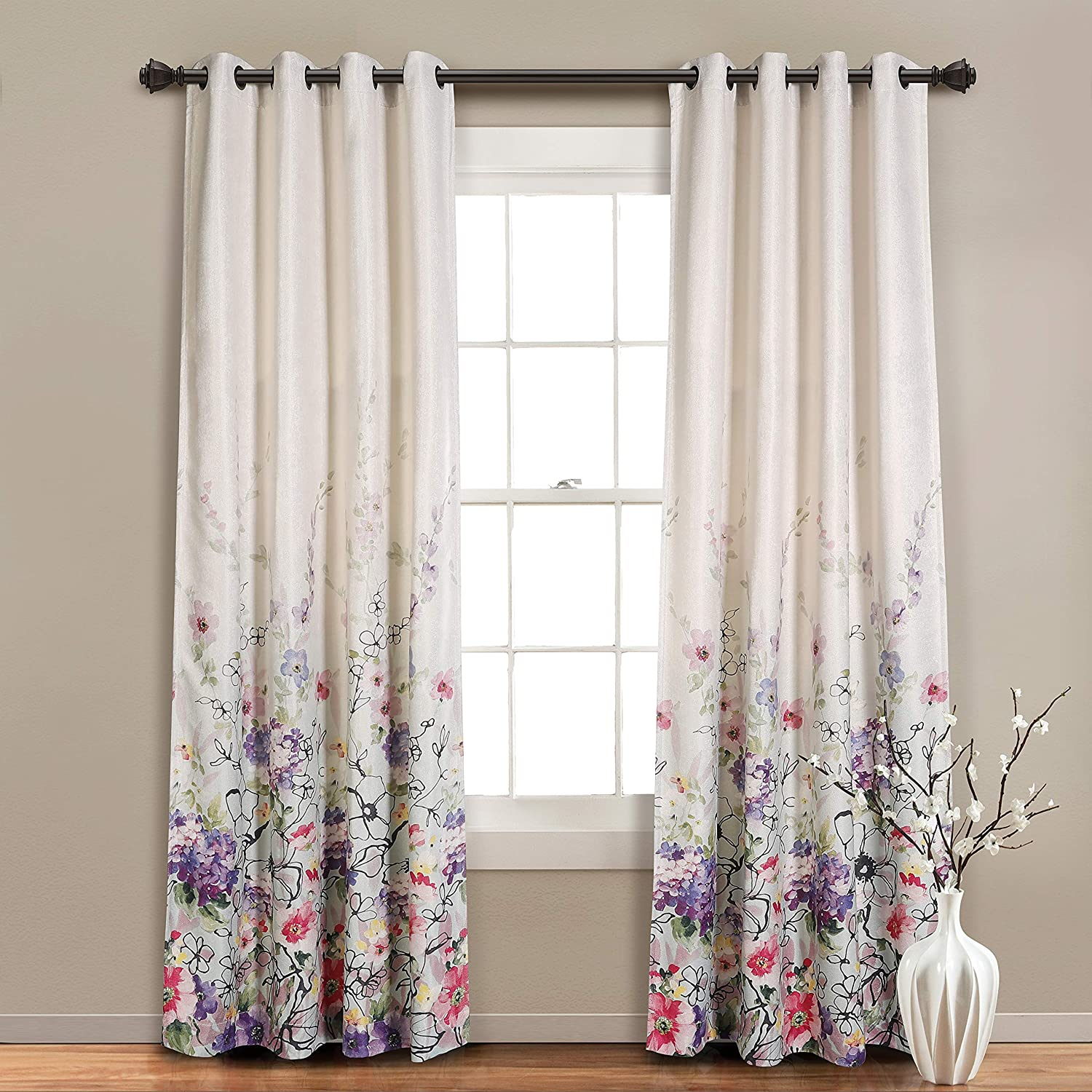MYSKY HOME Floral Design Print Grommet top Thermal Insulated Faux Linen Room Darkening Curtains, 52 x 95 Inch, Purple, 1 Panel