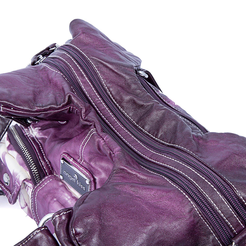 Handbag Hobo Women Handbag Roomy Multiple Pockets Street ladies' Shoulder Bag Fashion PU Tote Satchel Bag for Women (W7127Z Pureple) by Angel Kiss (Image #6)