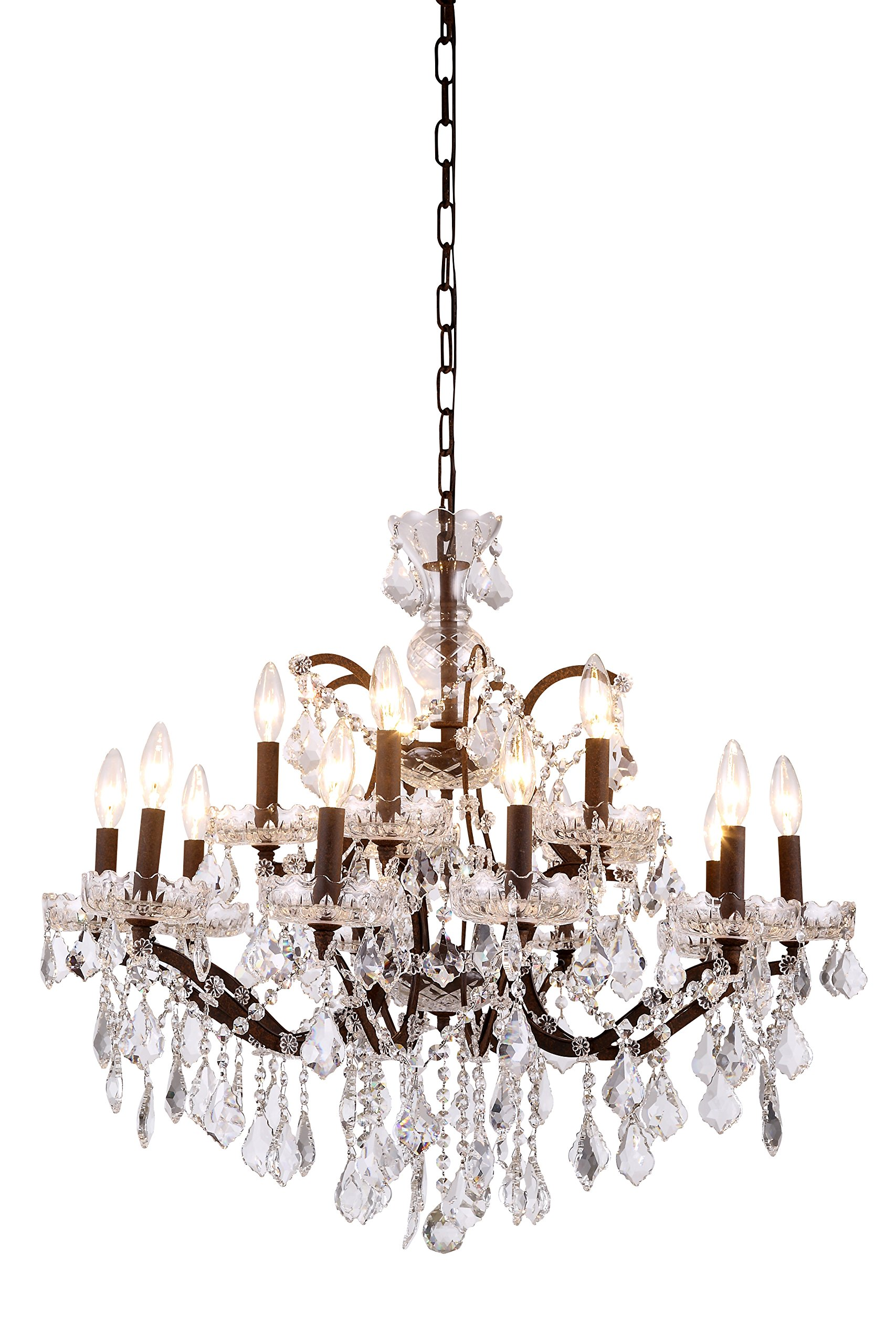 1138 Elena Collection Pendant Lamp D:30In H:28In Lt:15 Rustic Intent Finish Roya by Urban Classic
