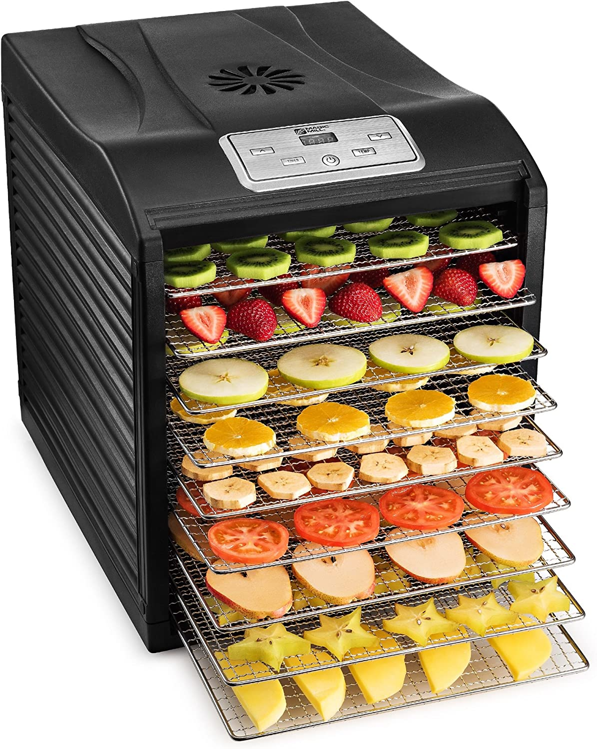 Magic Mill Food Dehydrator Machine – Easy Setup, Digital Adjustable Timer and Temperature Control Dryer for Jerky, Herb, Meat, Beef, Fruit and To Dry Vegetables Over Heat Protection 9 Stainless Steel Trays