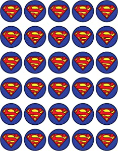30 x Edible Cupcake Toppers Themed of Super Man Logo Collection of Edible Cake Decorations | Uncut Edible on Wafer Sheet