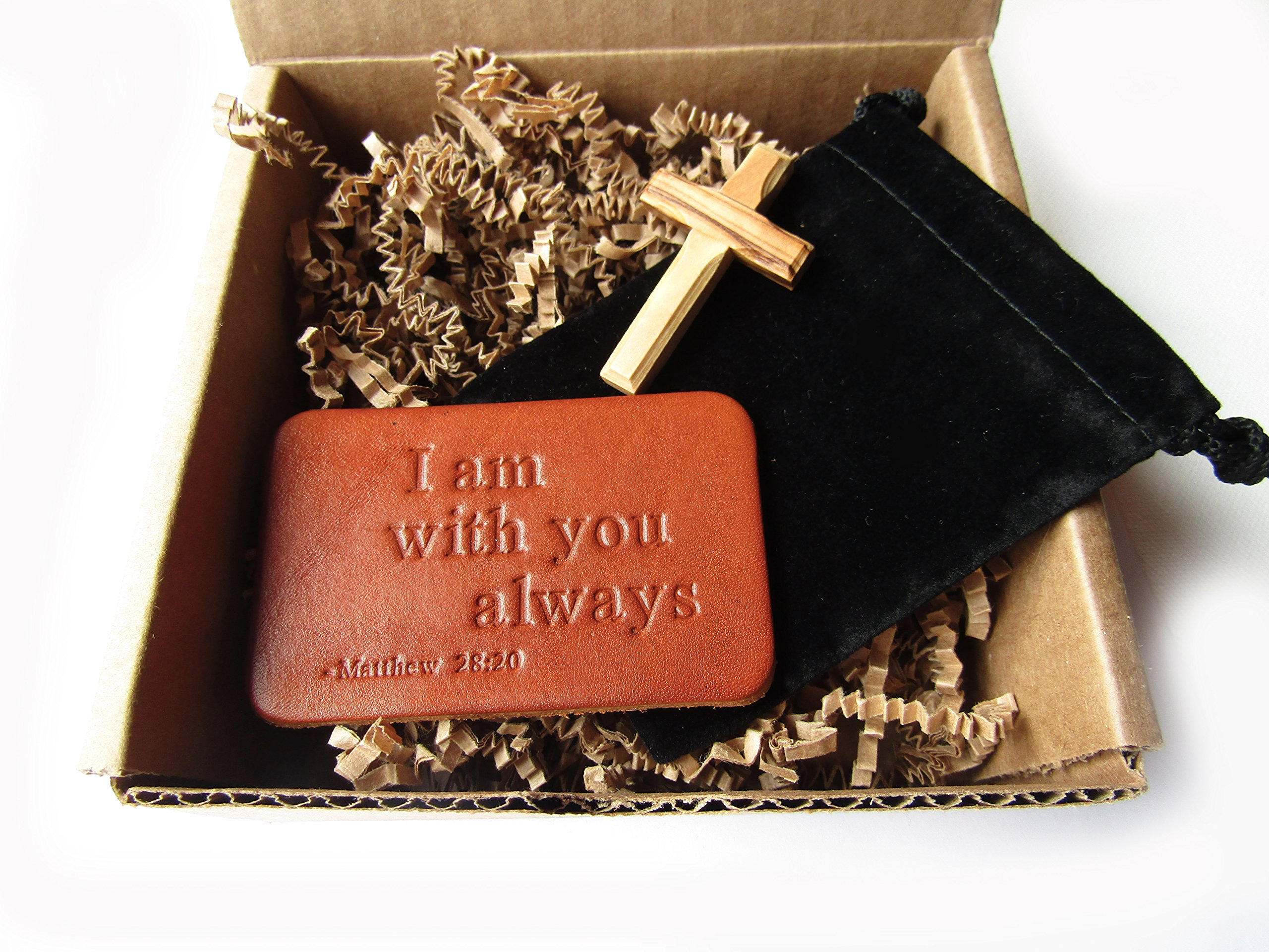 Twin Saints Christian Gift: I Am With You Always Leather Wallet Card with Bible Verse and Pocket Cross. Perfect for Confirmation, First Holy Communion or Adult Baptism.