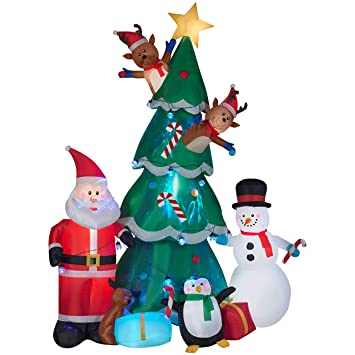 gemmy animated christmas tree with santa reindeer and snowman indooroutdoor holiday display - Animated Christmas Decorations Indoor