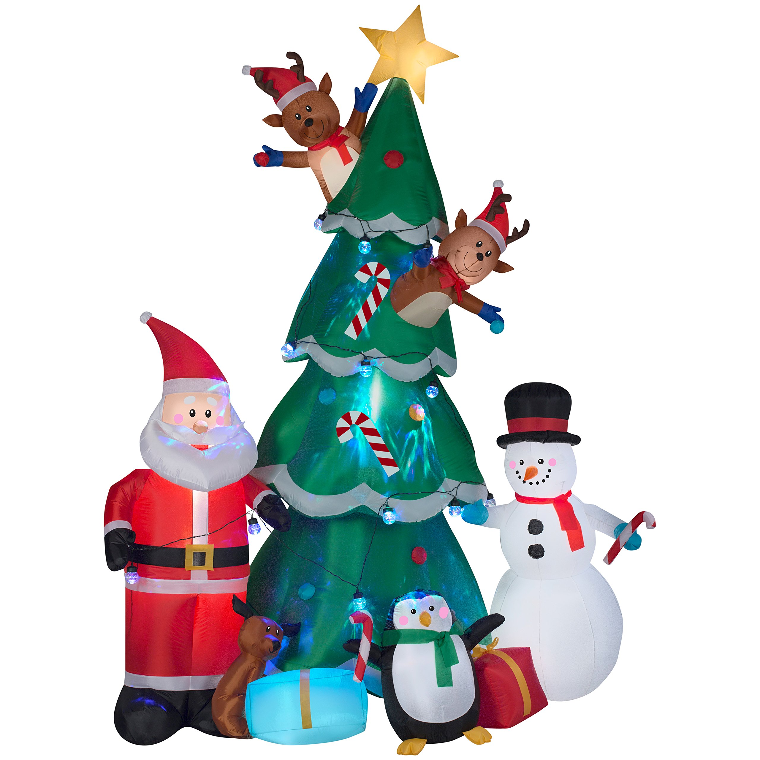 Gemmy Animated Christmas Tree with Santa, Reindeer and Snowman Indoor/Outdoor Holiday Display