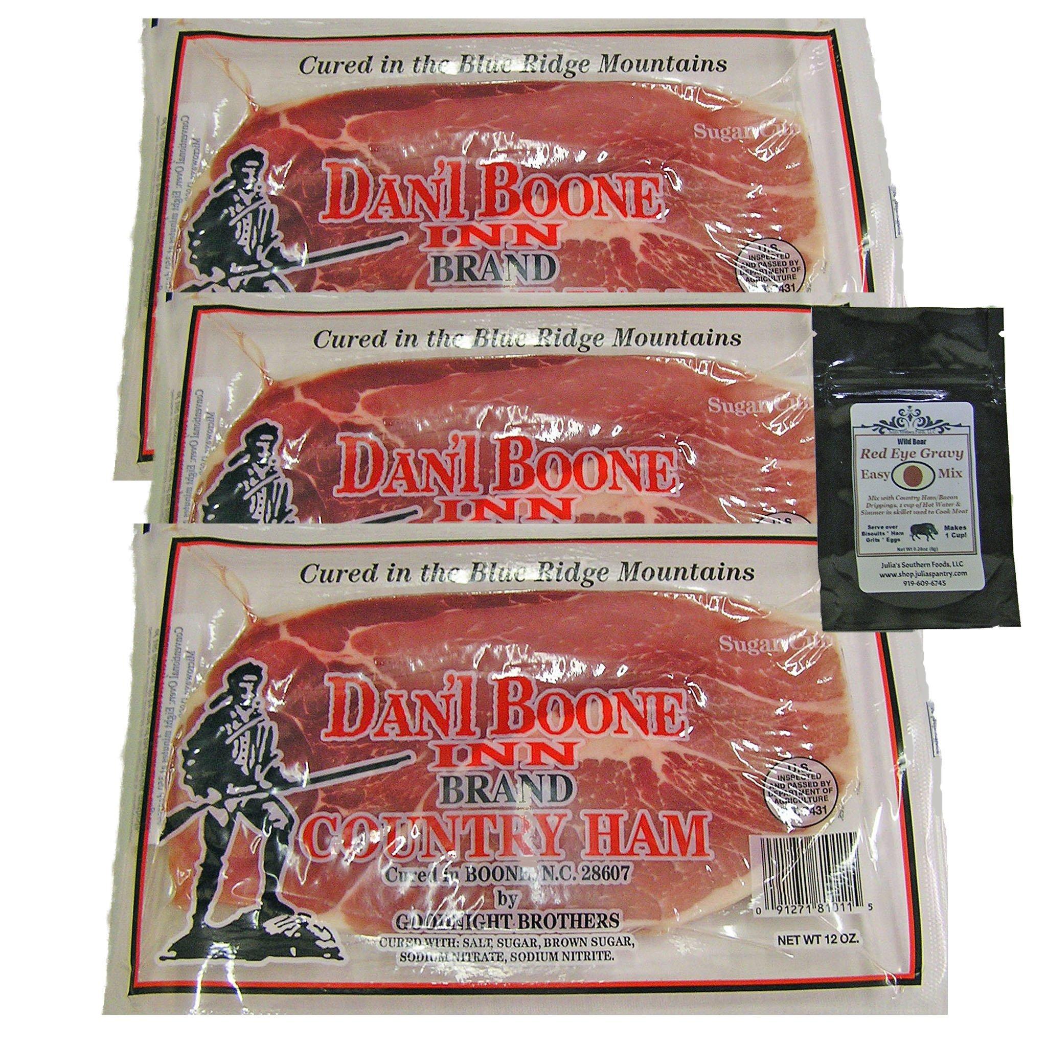 Dan'l Boone Country Ham 3-12oz Pkgs (2 1/4 Lbs) with Red Eye Gravy Sample