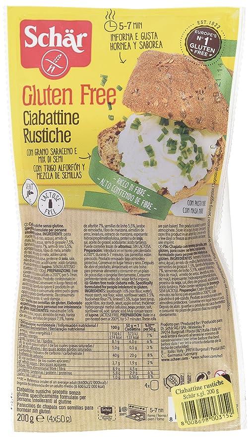Dr. Schar Ciabattine Rustiche Pan - Paquete de 4 x 50 gr ...