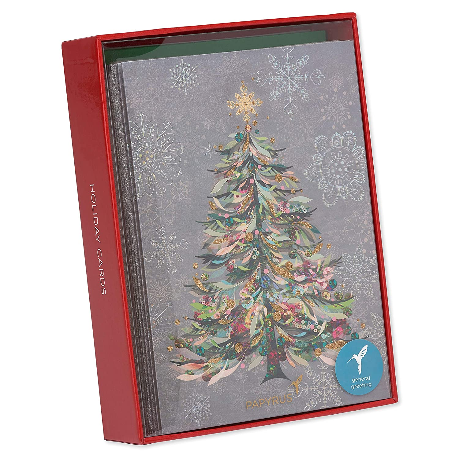 Papyrus Festive Christmas Tree Christmas Cards Boxed Gold Foil Lined ...