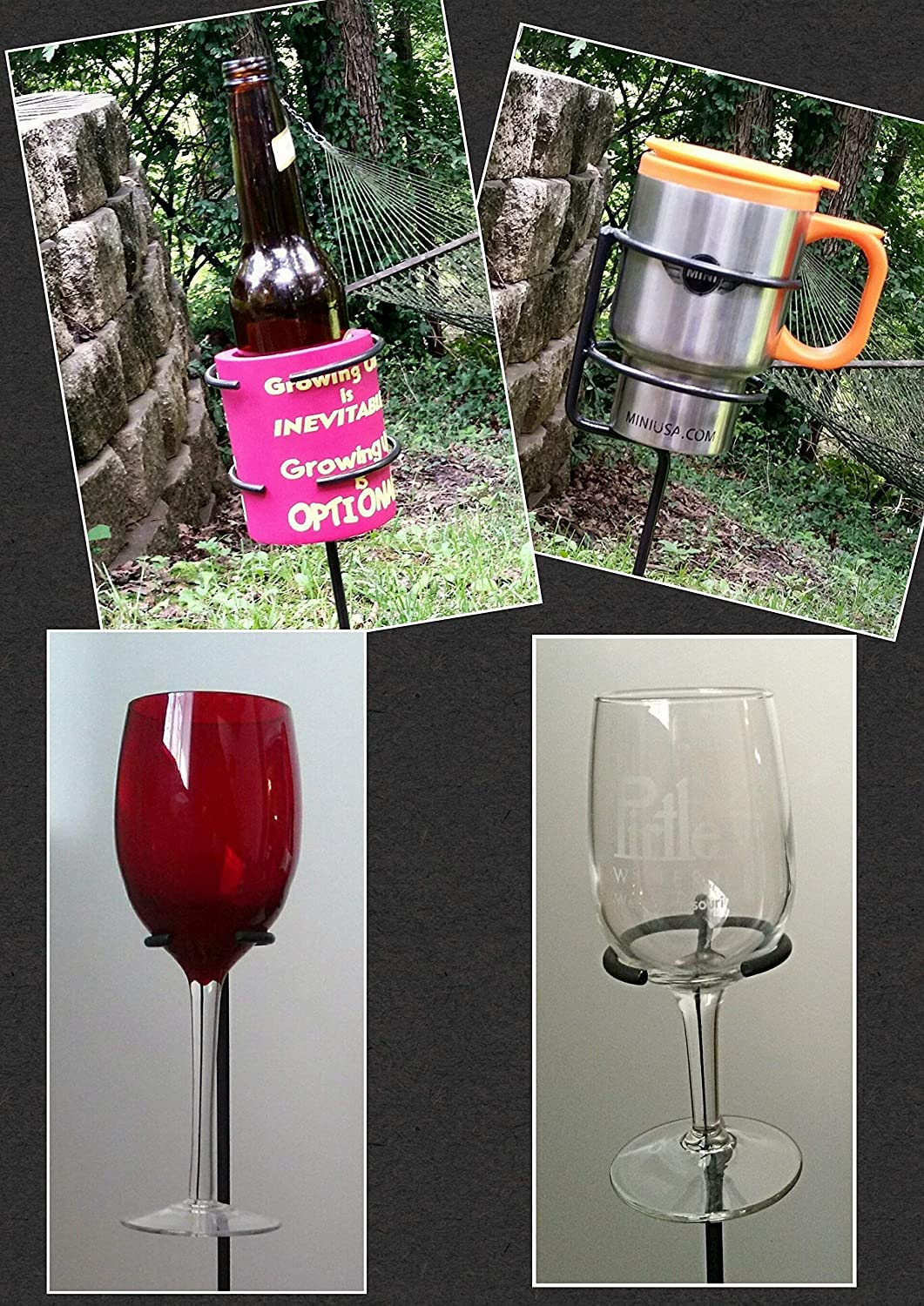 Small Party Package 2 Outdoor Wineglass & 2 Universal Cup Holders (Beer, Mug, or Cup) - Blacksmith Made