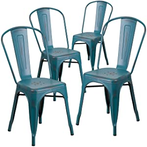 Flash Furniture 4 Pk. Distressed Kelly Blue-Teal Metal Indoor-Outdoor Stackable Chair -, 4-ET-3534-KB-GG