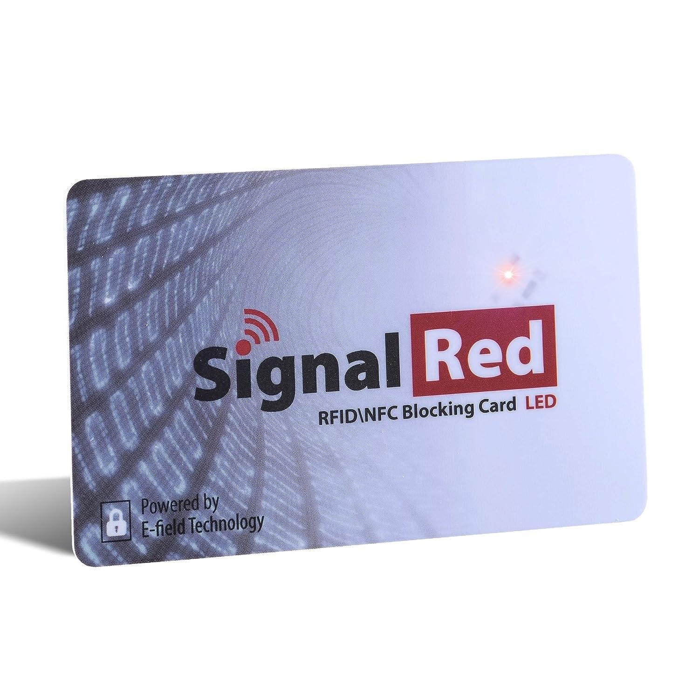Protector de tarjetas de crédito con luz LED - 1 sola tarjeta bloqueadora de RFID bloquea todas las señales RFID/NFC de tarjetas de crédito y ...