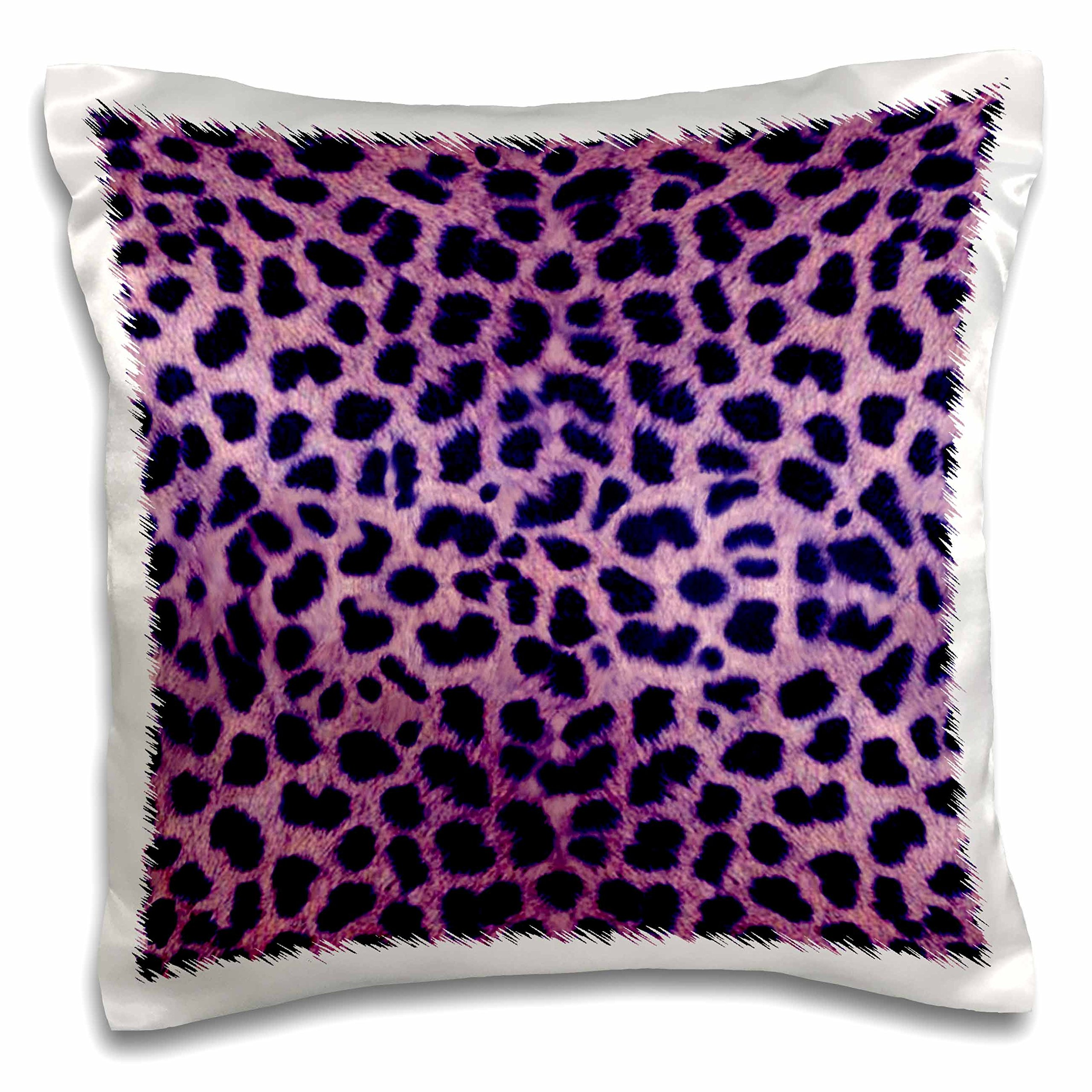 3dRose Purple Cheetah Animal Print Pillow Case, 16 x 16''