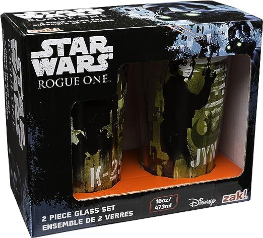 Zak Designs SWRY-B080 Star Wars Rogue One Pint Glasses 16 oz K-2SO /& Jyn Erso